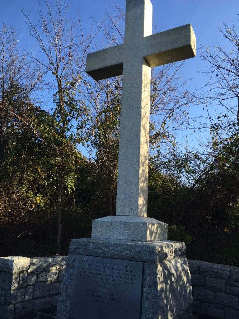 Replica of Rev. Robert Hunt's cross--Cape Henry